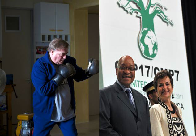 Left: Lord Prescott (Daily Mail UK). Right: President Jacob Zuma and UN climate chief Christiana Figueres pose for a photograph during the opening of UN talks on climate change in Durban. (Alexander Joe, AFP)