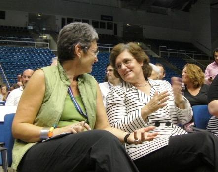 MEP Ulrike Lonacek and Kinga Goncz at the EuroGames 2012 Budapest opening ceremony